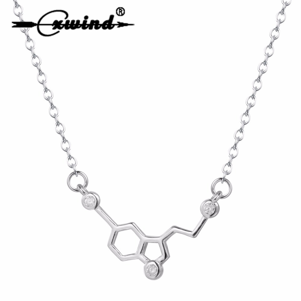 Cxwind Silver Zircon Serotonin Molecule Chemistry Necklaces Charm Molecules 5-ht Pendant Necklace Jewelry Gift For Girl Collier