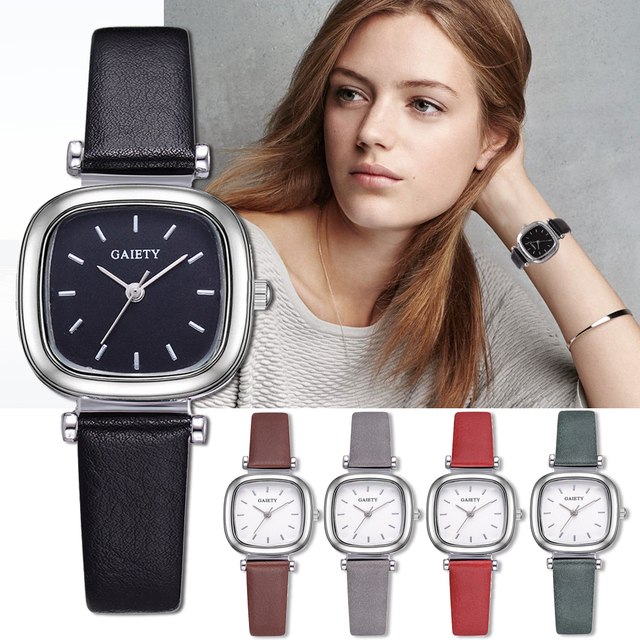 Exquisite Small Simple Women Dress Watches Retro Leather Female Clock Women's Fa