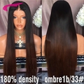 T1b/33# Brazilian Virgin Hair Lace Front Wig Bleached Knots Silky Straight Glueless Full lace Human Hair Wig For Black Women