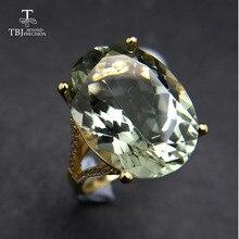 נחמד שחור שישי & חג המולד מתנה גדול טבעי ירוק אמטיסט טבעת צהוב זהב צבע 925 כסף חן תכשיטי עבור בנות TBJ