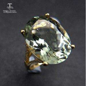 Image 1 - 素敵なブラックフライデー & クリスマスギフトビッグナチュラルグリーンアメジストリングイエローゴールド色 925 シルバー宝石用原石の女の子 tbj
