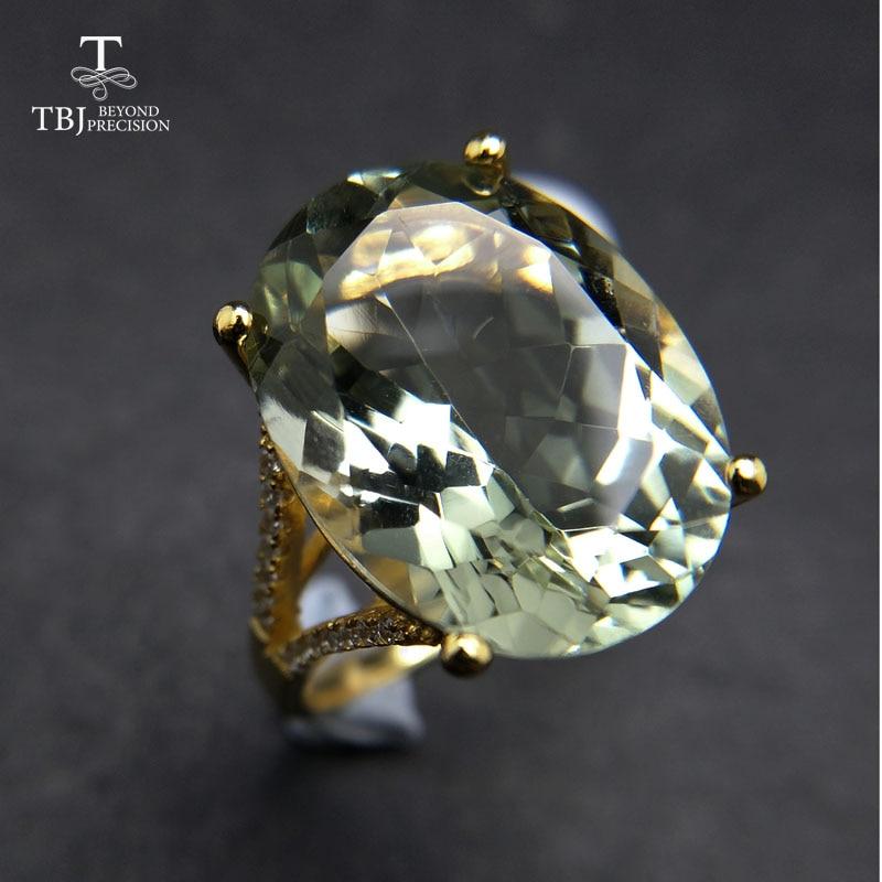 Joli noir vendredi et cadeau de noël grand naturel vert améthyste bague jaune or couleur 925 argent pierres précieuses bijoux pour les filles TBJ
