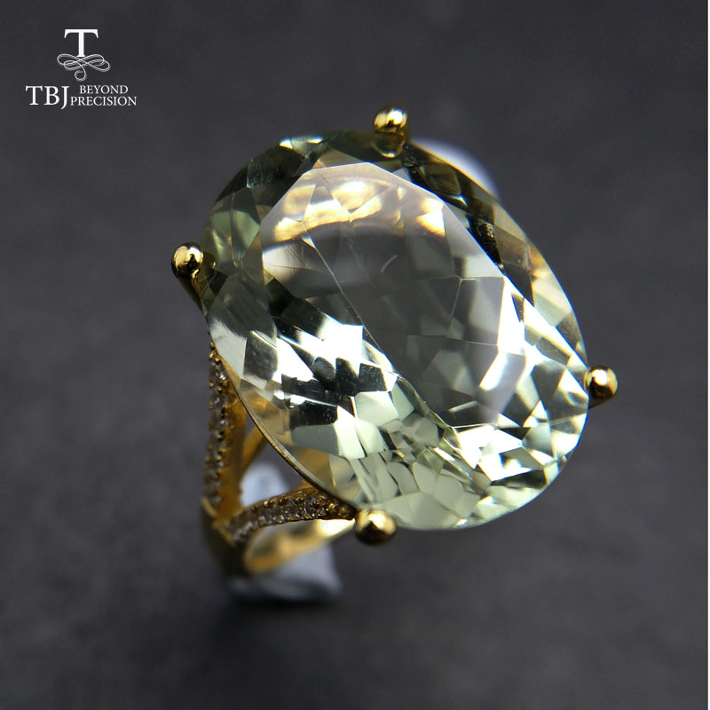 TBJ,Big Natural 13ct Green Amethyst Ring  In  925 Yellow Gold Color Sterling Silver Gemstone Jewelry For Girls With Gift Box