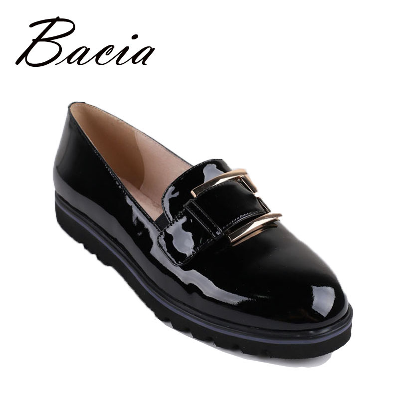 Bacia Flats Women Cow Skin Genuine Leather Loafers Round Toe Slip-on Handmade Flats  Patent Leather Shoes Tolons Femme  VB012 qmn women genuine leather ballet flats women patent leather round toe slip on leisure shoes woman cute leather flats