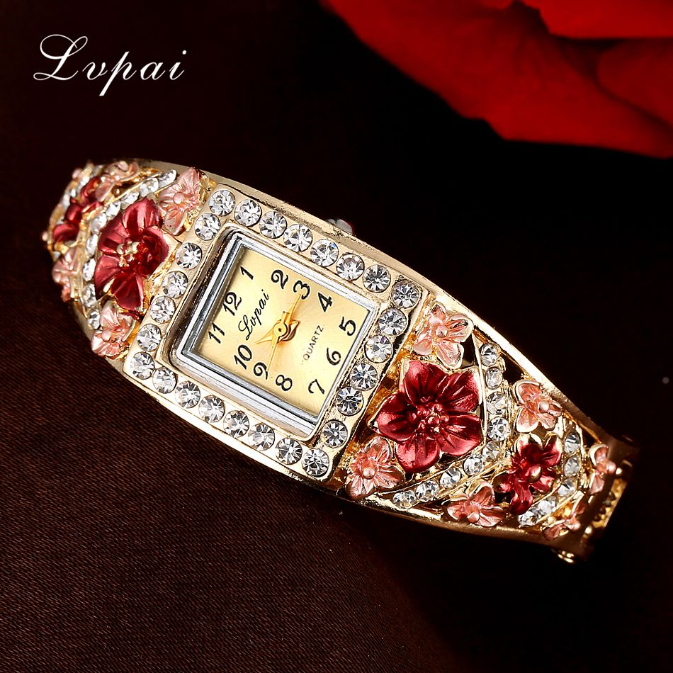 Lvpai Brand Watch Women Crystal Bracelet Flower Wristwatch Women Dress Clock Fashion Electronics Gift 2018 New Quartz Watch 2018 new fashion bracelet watch quartz women lady dress wristwatch horloges vrouwen gift box free ship