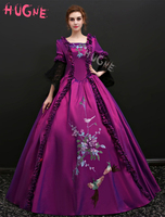 Violet Vintage Victorian Euro style costume short sleeve tunic womens floral Ball Gown prom party Maxi long Dresses