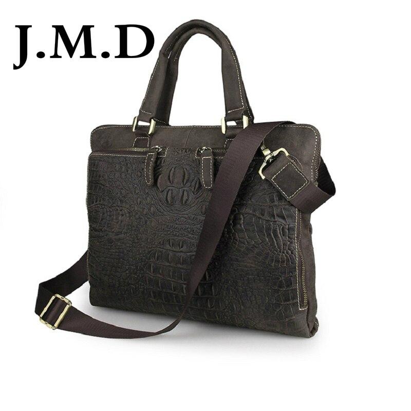 J.M.D 2018 New High Quality 100% Genuine Leather Messenger Bag Briefcase Laptop Bag Shoulder Bag Crocodile Pattern 7294 luxurious crocodile pattern shoulder bag 100