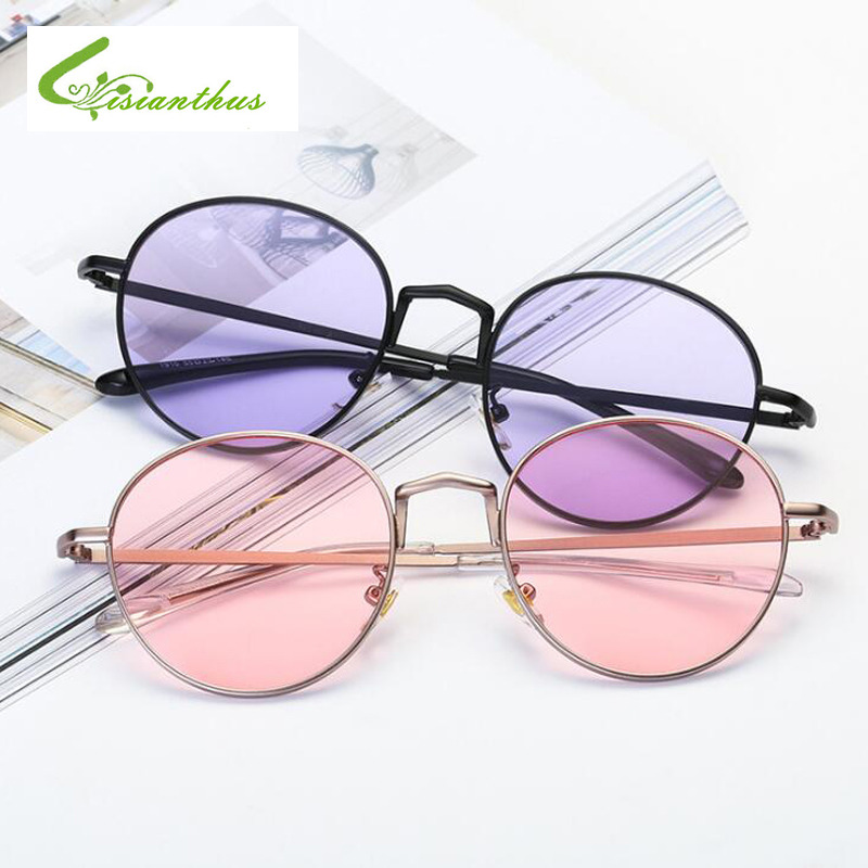 Retro gafas de sol redondas de las mujeres del color del caramelo Shades Gafas transparentes Gafas de sol de la vendimia Mujer Mujer Marca Diseño Gafas UV400