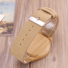 2017 Bamboo Wood Watch Minimalist Buddha Genuine Leather Band Strap Nature Wood Bangle Wristwatch Unisex Reloj Hombre Clock