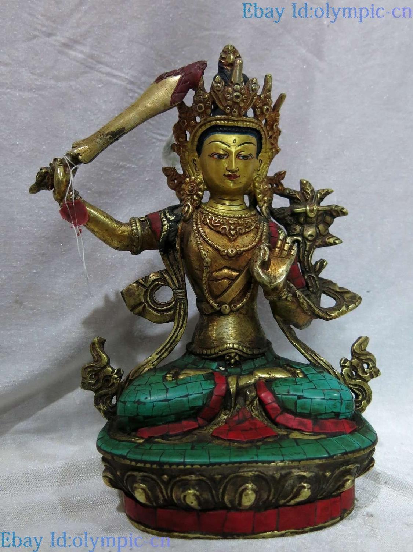 9 Tibet bronzo antico gild calaite scultura Manjusri Kwan-yin Bodhisattva Statua di9 Tibet bronzo antico gild calaite scultura Manjusri Kwan-yin Bodhisattva Statua di