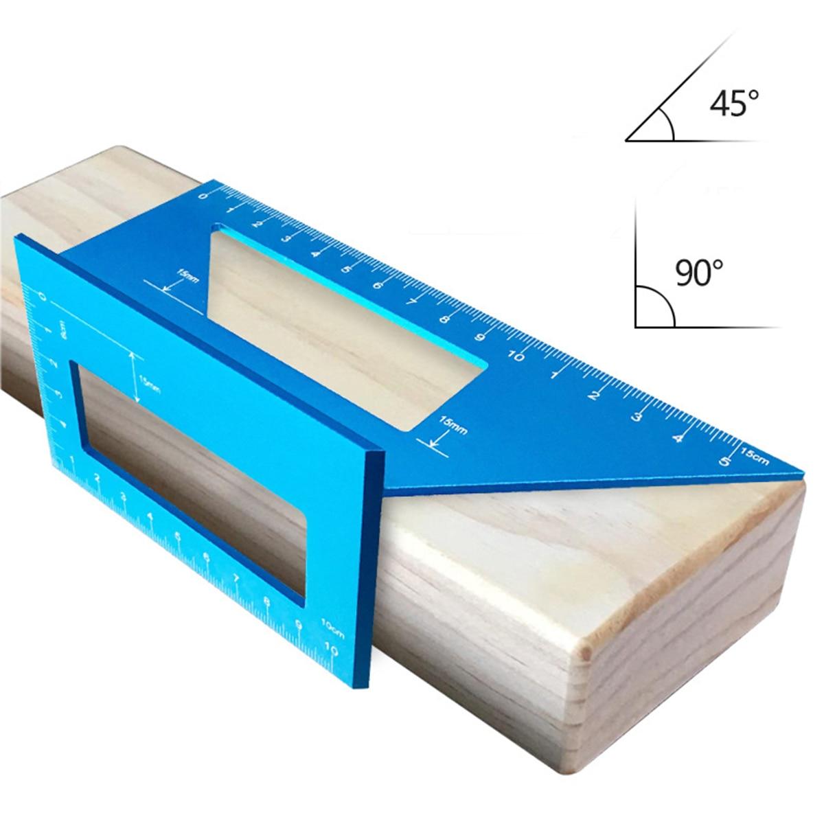 מערכות שמע נייד סגסוגת האלומיניום ניגרת כיכר משולבת 45 מעלות 90 מעלות מד זווית מד זוית מעל כלים לעיבוד עץ שליט (1)