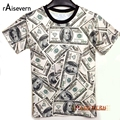 Funny! 2017 Summer Fashion Women/Men T-shirt The Money Dollar Print O-neck Novely 3d T Shirt Tops Shirts Unisex Top Tees