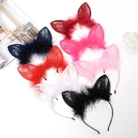 Women Girls Lace Rabbit Ear Hairband Fluffy Plush Hair Hoop Party Solid Headband