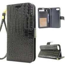 Pour iPhone 7 4.7 pouces Smartphone Sac Cas Crocodile Peau Folio portefeuille En Cuir Cas pour iPhone 7 4.7 pouces avec Lanière-noir