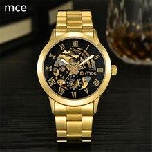 MCE Люксовый бренд Автоматические Механические часы для мужчин Полный Нержавеющей Стали римские цифры Аналоговый дисплей часы скелет золото