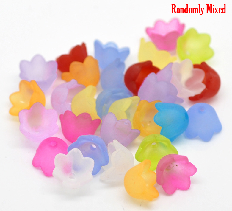 DoreenBeads 65PCs At Random Flower Frosted Acrylic Spacer Beads Caps 10mmx7mm(Fit 10mm) 2015 New