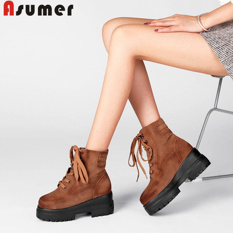 ASUMER fashion ankle boots for women round toe lace up suede leather boots platform autumn winter boots wedges motorcycle boots round toe suede lace up mens boots