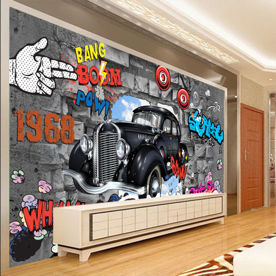 Cool graffiti bang boom 3d wallpaper for walls 3d covering for Cool mural wallpaper