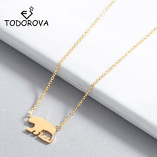 Todorova Women Jewelry Cut Out Polar Bear Pendant Necklace Colliers Accessories Mama Bear Gift for Mom Animal Necklace modern cut out ball noctilucent necklace for women