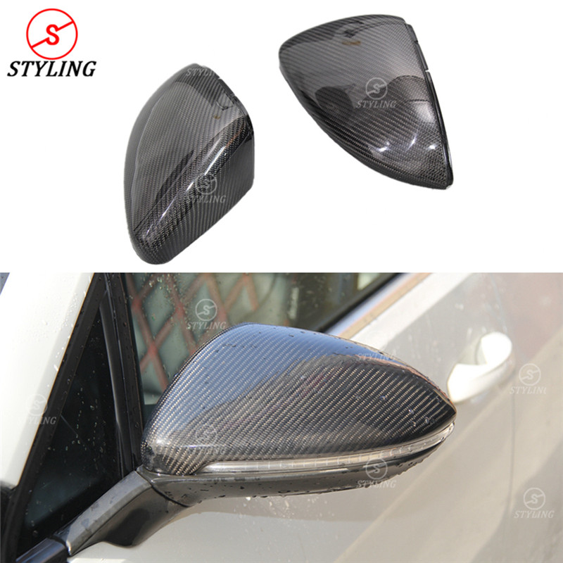 цена на 1:1 Replacement Style For Volkswagen Golf 7 GTI Mk7 Carbon Fiber Rear Side View Caps Mirror Cover car Golf7 Mirror Cover 2013-UP