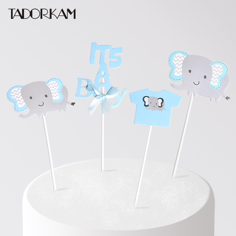4pcs/set Its A Boy Cupcake Cake Topper Elephant Cake Flags Boy Kids Happy Birthday Baby Shower Party Baking Decorating Supplies