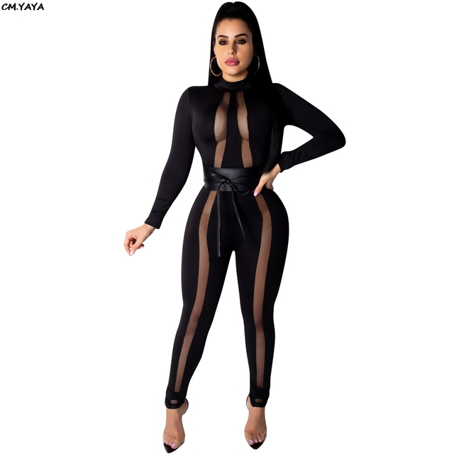 c95013c8075 2019 new spring women mesh see though patchwork long sleeve balck bodycon long  jumpsuit night club romper sexy playsuits Y8070
