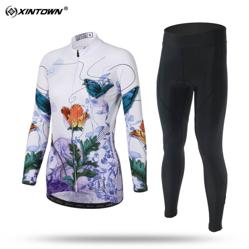 XINTOWN Cycling Jersey Trousers Set Long Sleeve Riding Women Clothes Sportswear Running Sunscreen Shirt Breathable Smooth Fabric