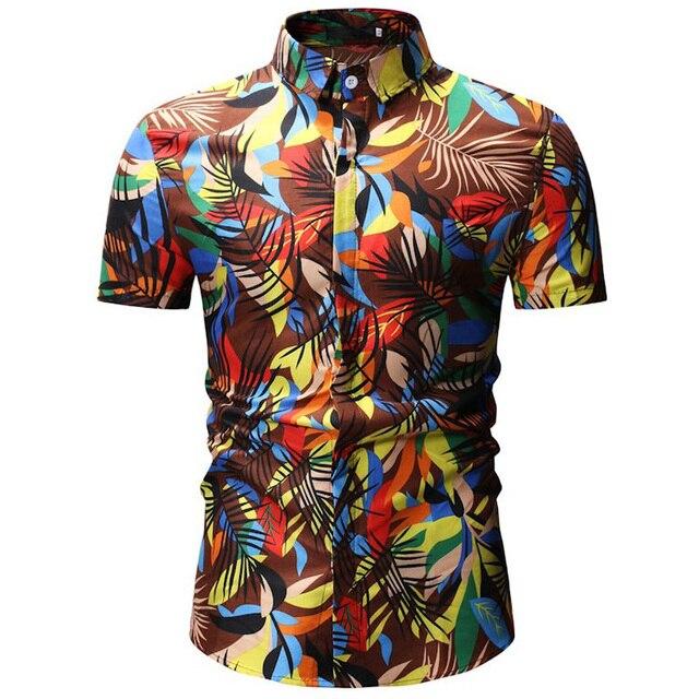 Mens הוואי חולצה זכר מקרית Camisa Masculina מודפס חוף חולצות קצר שרוול מותג בגדי משלוח חינם אסיה גודל 3XL