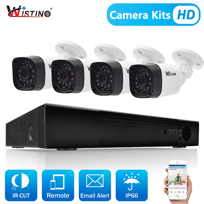 Wistino 2MP 4pcs IP Camera Outdoor Night Vision CCTV Security System Kit 8CH NVR Surveillance Monitor Kits H.265 XMeye 1MP 1.3MP