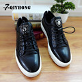 QIYHONG Brand 2016 New Fashion Leather High-End Men'S Round Head With Flat-Bottomed Casual High-Quality Casual Shoes