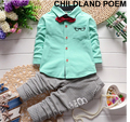 2016 spring Baby Boy Clothes Sets Gentleman Suit Toddler Boys Clothing Set Shirt+pants Kids Boy Clothing Set Birthday Outfits
