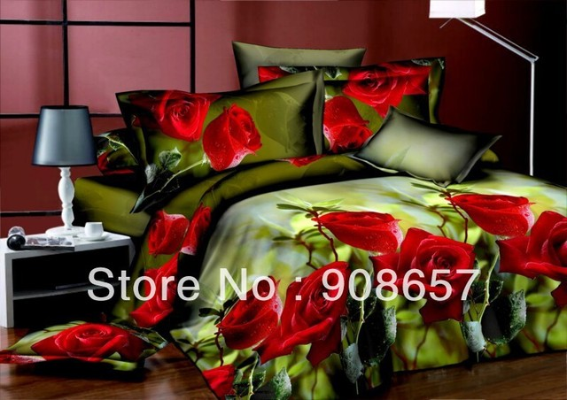 red rose flowers green cheaper 3D bedding sets discount oil painting print queen/full duvet covers sets 4pc for quilt/comforter