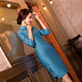New Arrival Traditional Chinese Style Ladies Cheongsam Classic Linen Qipao Vintage Short Style Dress SizeS M L XL XXL F072504