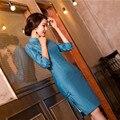 Nueva llegada señoras del estilo chino tradicional cheongsam qipao corto de la vendimia de lino clásico estilo dress tallas ml xl xxl f072504