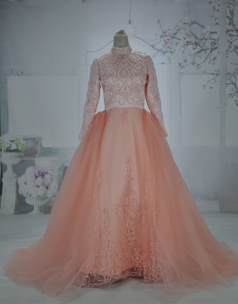 Oumeiya omy168 Real Photos Pink Tulle Beaded Embroidery High Neck Long Sleeve font b Hijab b