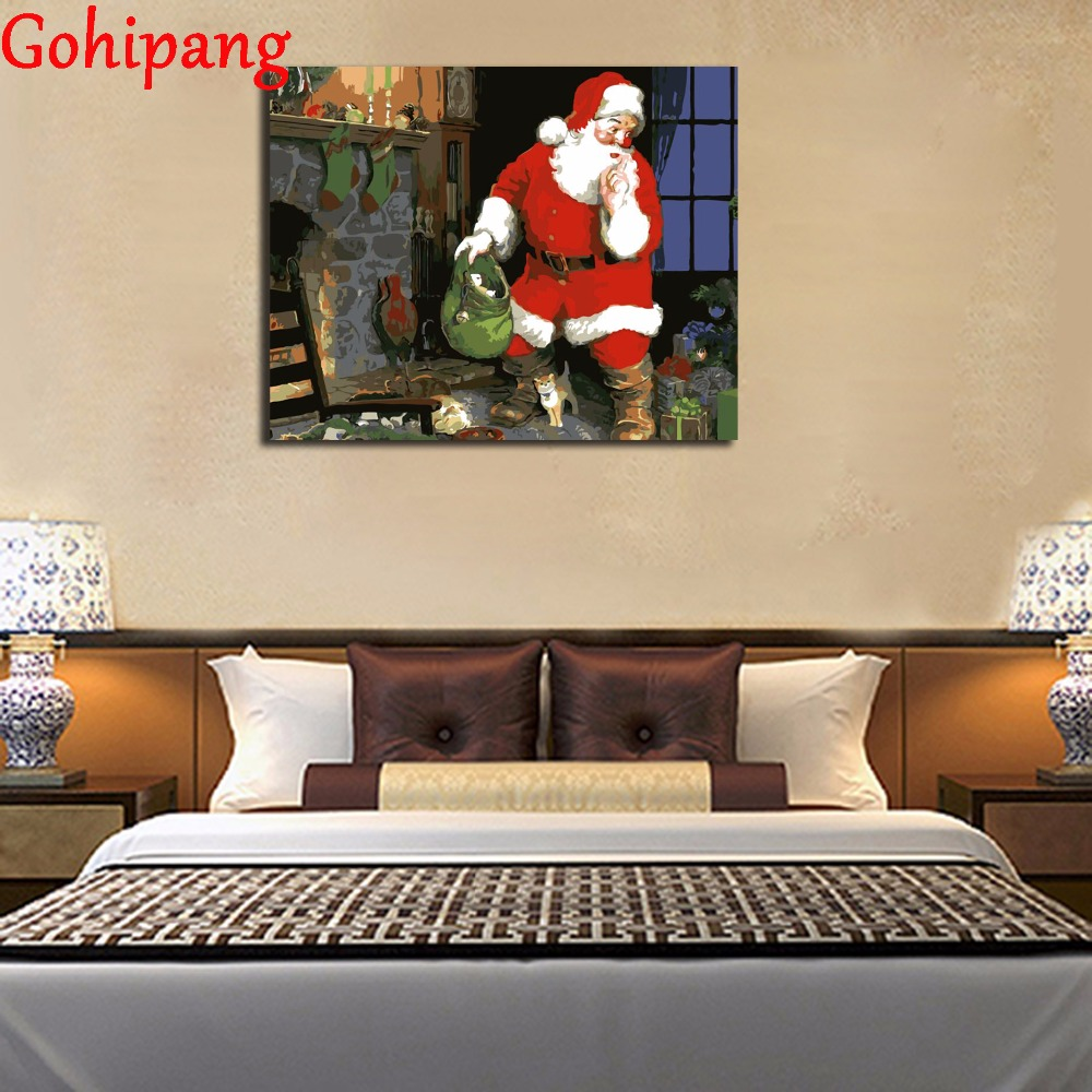 Diy oil painting santa claus framed wall decor by numbers hand diy oil painting santa claus framed wall decor by numbers hand painted canvas painting for living room in paint by number from home garden on jeuxipadfo Choice Image