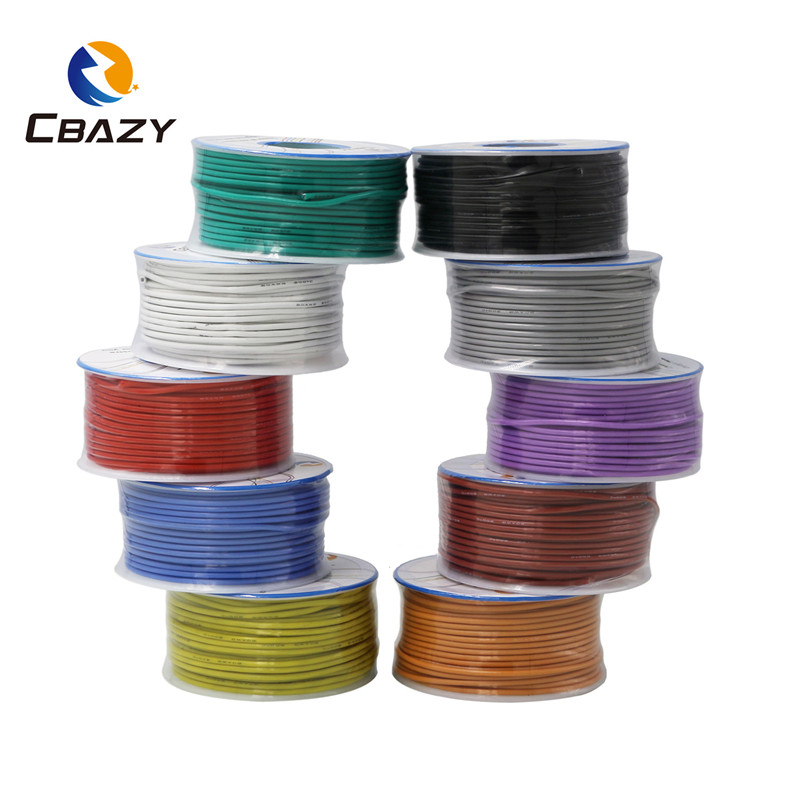 <font><b>28AWG</b></font> 40M flexible silicone wire and <font><b>cable</b></font> tinned copper wire stranded wire 10 colors to choose from DIY wire connection image