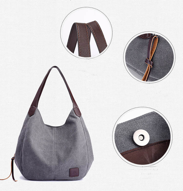 Women's Canvas Handbags High Quality Female Hobos Single Shoulder Bags Vintage Solid Multi-pocket Ladies Totes Bolsas 1