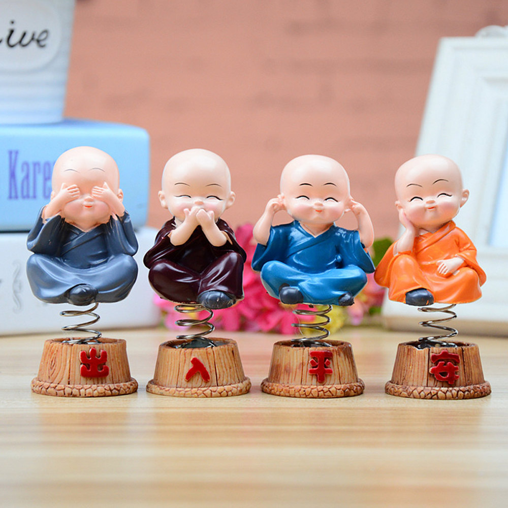 Kung Fu Monk Four No Buddha Toy Doll Cartoon Ornaments Car Cute Car Accessories Educational Cute Toys Best Present For Children solar powered head shaking cute kung fu couple desktop toy