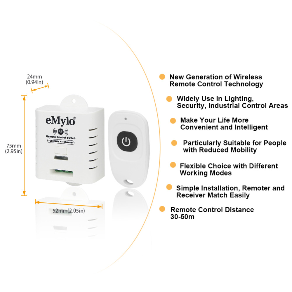 Image 2 - eMylo AC100 240V 2000W 433mHz 1Channel RF Relay Wireless Remote Control Light Switch Transmitter with Receiver-in Switches from Lights & Lighting