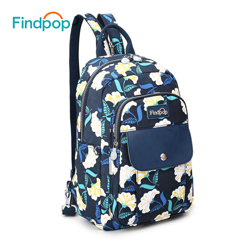 Findpop Canvas Mini Backpack Women 2018 New Casual Printing Backpack Mochilas Waterproof 5 Color Floral Backpacks Bags For Women