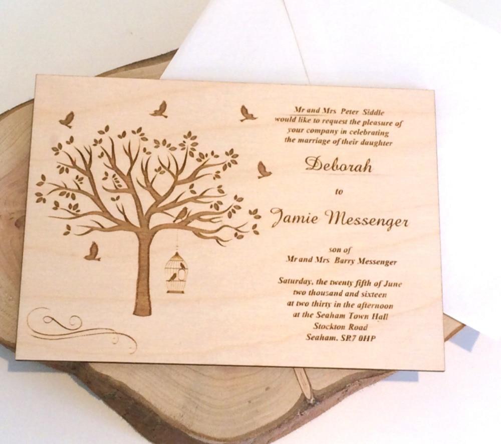 Wedding Invitation Card Paper: Personalized Tree Wooden Wedding Invit,Wedding Invitations