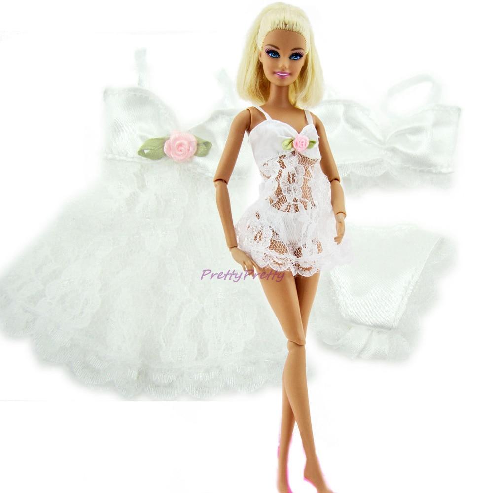 White Sexy Pajamas Dolls Lingerie Bra Costume-2758