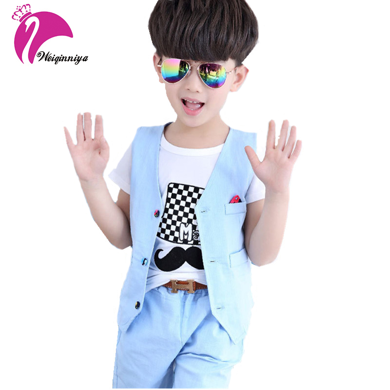 New Summer Baby Boys Gentleman Sets 2017 Children Fashion Solid Coat+Short Pants 2 Pieces V-Neck Casual Pockets Kids Suit 4-13Y