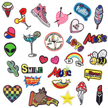 1 PC Cartoon Stickers for Clothes Parches Bordados Letters Patch for Backpack Handbag Patches for Clothing Iron Cloth Stripes(China)