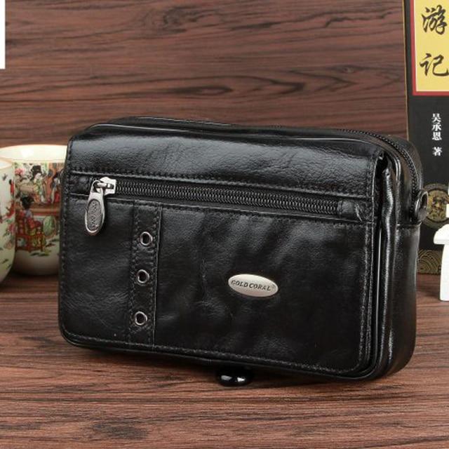 d9b6be4efe2a New Arrival Men Small Sling Messenger Shoulder Bag Mobile Phone Case Purse  Genuine Leather Travel Belt Hip Bum Waist Fanny Pack