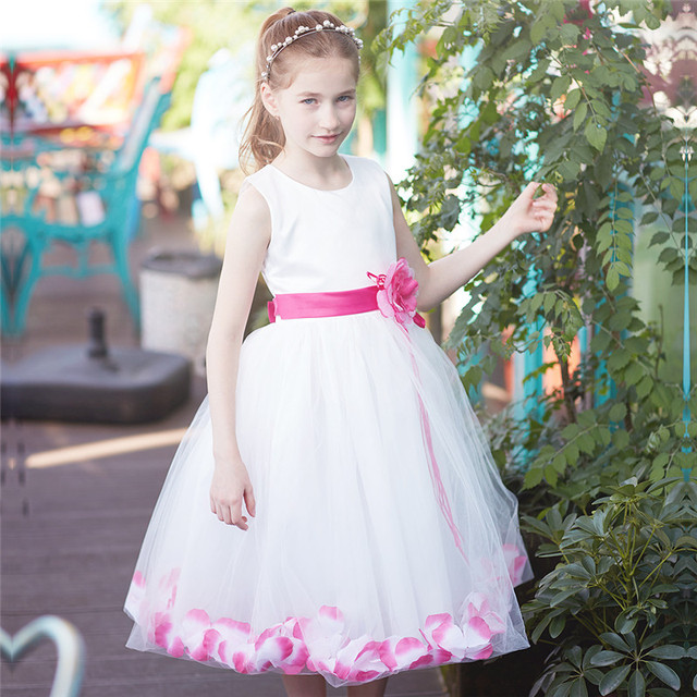 da3eb59c6acb1 US $13.74 |Baby Girl Dresses Clothes Kids Prom Gown Designs Children's  Clothing Girl 10 Years Flower Petals Hem Dress For Wedding And Party-in  Dresses ...