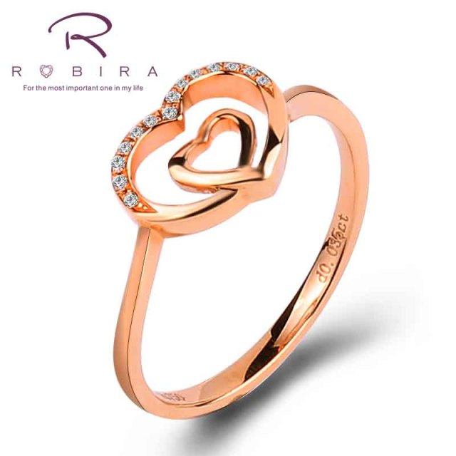 Robira Fashion 18K Rose Gold Jewelry Ring Genuine Diamond Heart