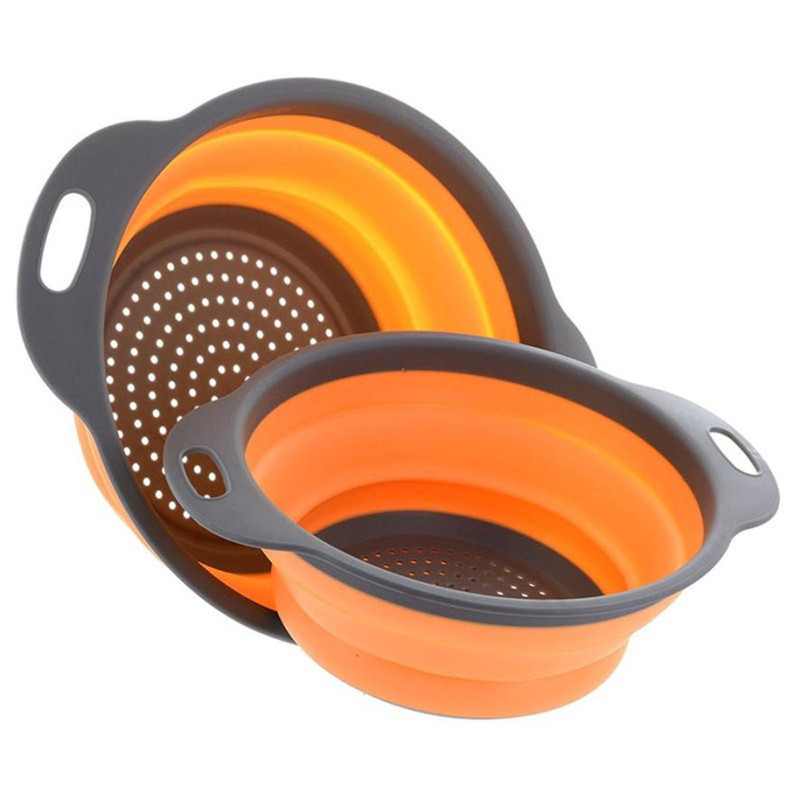 1PC Collapsible Fruit Washing Basket Strainer Holder Foldable Silicone Colander Water Leaking Vegetable Washing Bowl with Handle