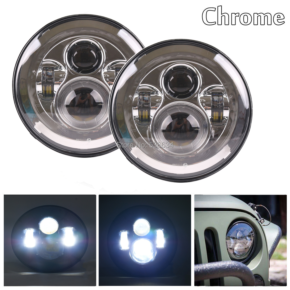 1 Pair 7 inch Chrome Round LED Headlights Projector For Jeep Wrangler Unlimited JKU 4 Door,for 1992-2001 AM General Hummer nitro triple chrome plated abs mirror 4 door handle cover combo